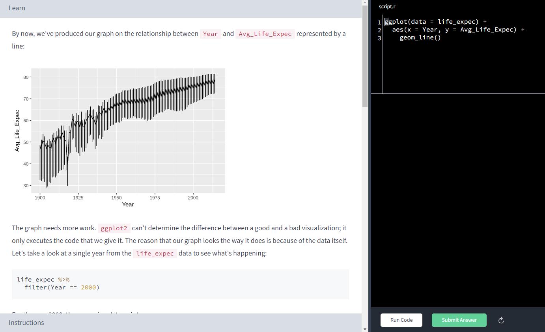 dataquest coding exercise UI