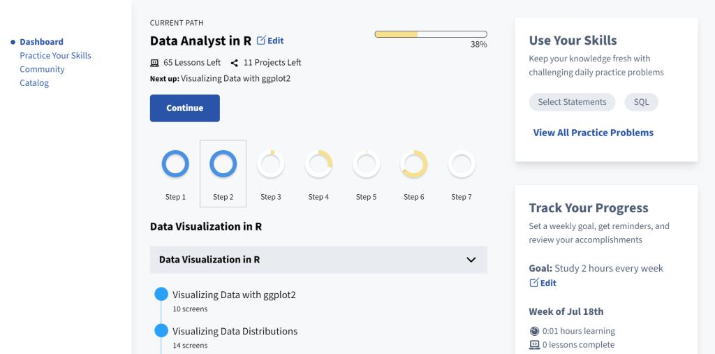 dataquest dashboard UI